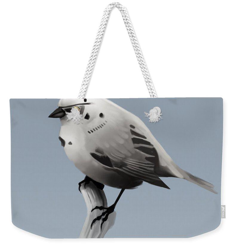 Birds Weekender Tote Bag featuring the digital art Trooper Bird by Michael Myers