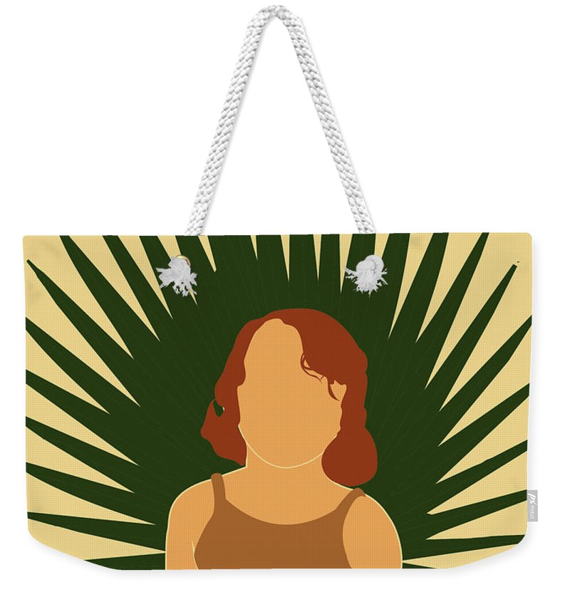 Tropical Weekender Tote Bag featuring the mixed media Tropical Reverie - Modern Minimal Illustration 02 - Girl With Palm Leaf - Tropical Aesthetic - Brown by Studio Grafiikka