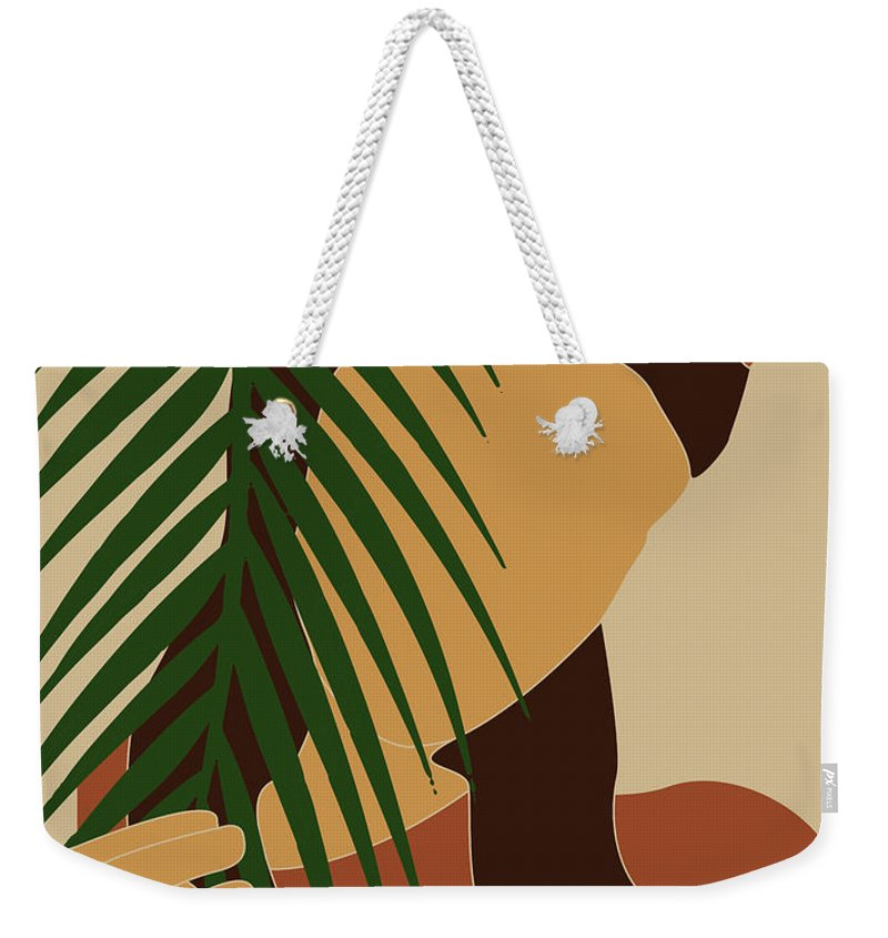 Tropical Reverie Weekender Tote Bag featuring the mixed media Tropical Reverie - Modern Minimal Illustration 10 - Girl, Palm Leaves - Tropical Aesthetic - Brown by Studio Grafiikka