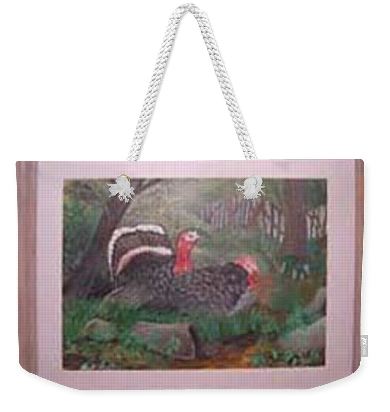 Rick Huotari Weekender Tote Bag featuring the painting Turkeys by Rick Huotari
