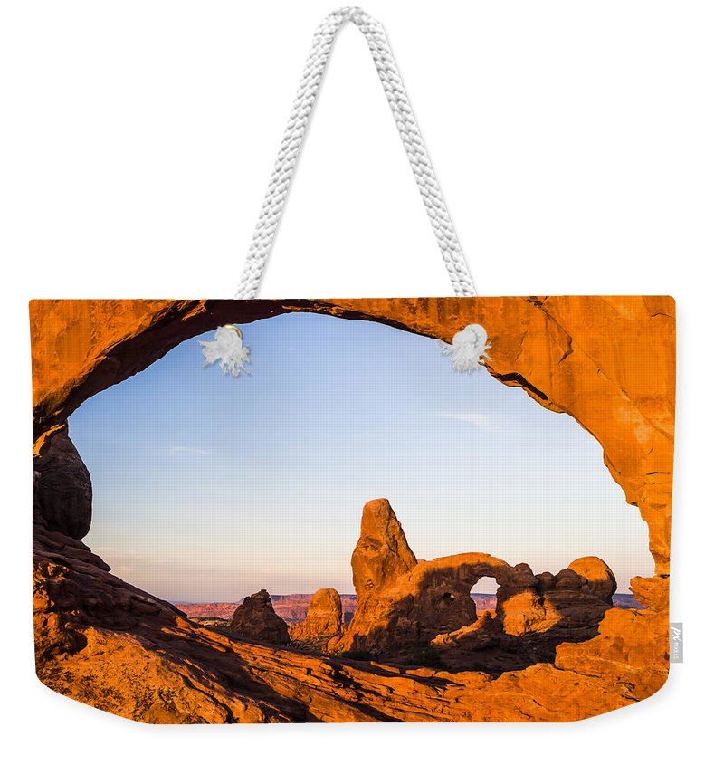 3scape Weekender Tote Bag featuring the photograph Turret Arch at Sunrise by Adam Romanowicz