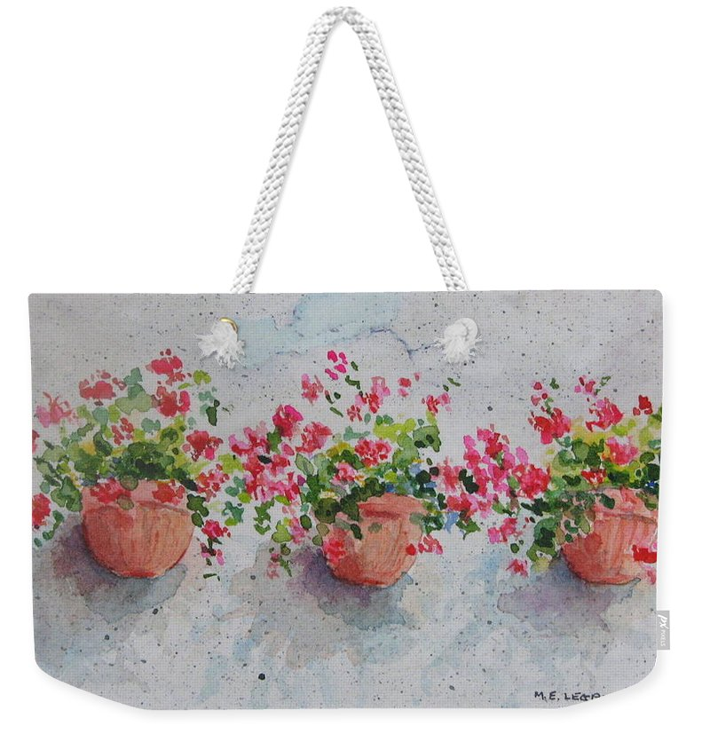 Florals Weekender Tote Bag featuring the painting Tuscan Flowers by Mary Ellen Mueller Legault