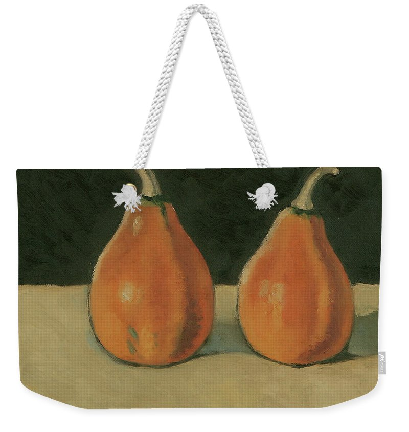 Still-life Pumpkins Orange Weekender Tote Bag featuring the painting Two Orange Pumpkins by Raimonda Jatkeviciute-Kasparaviciene