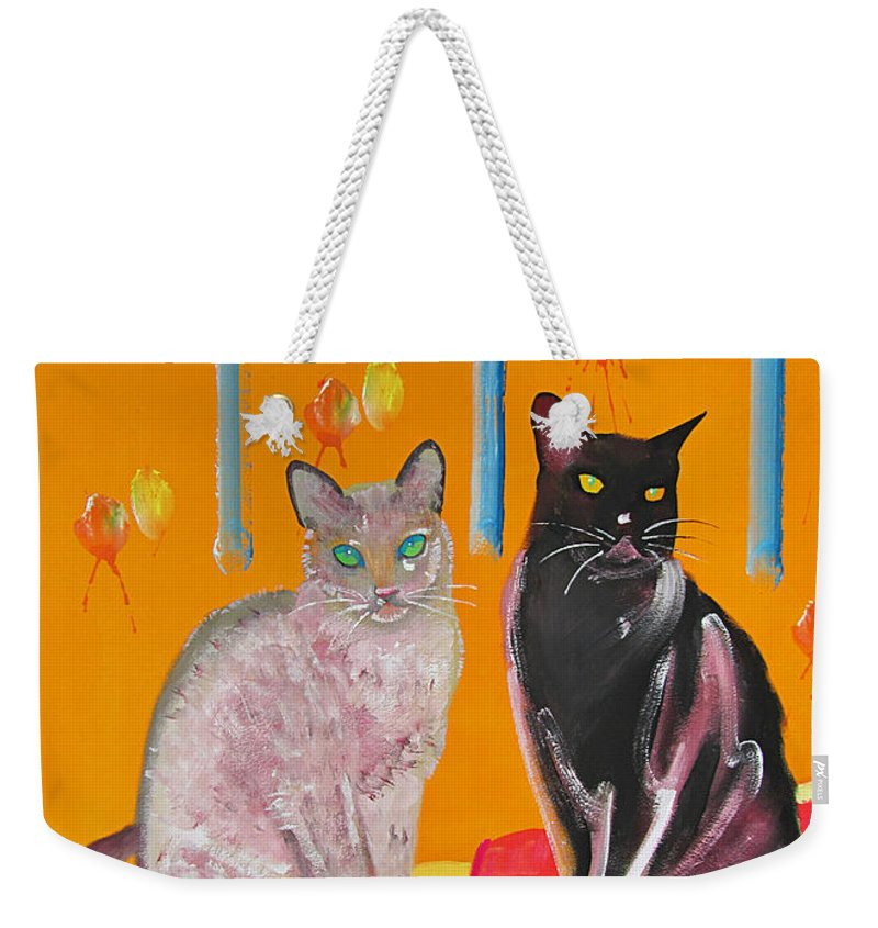 Cats Weekender Tote Bag featuring the painting Two Oriental Cats by Charles Stuart