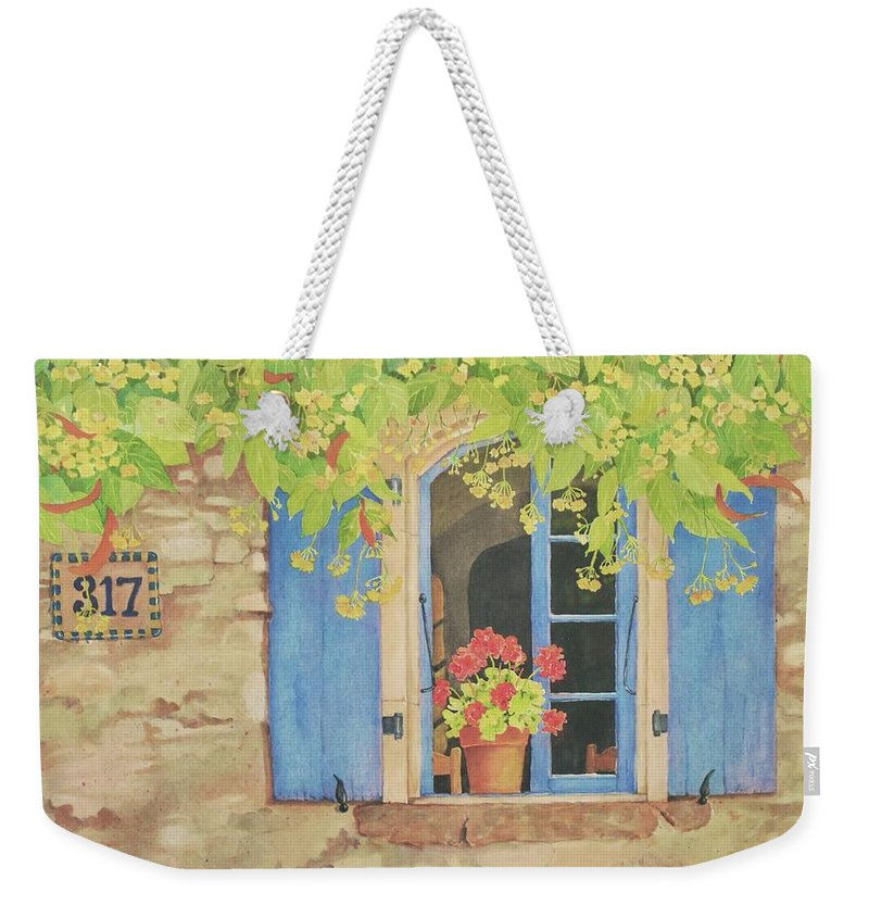 France Weekender Tote Bag featuring the painting Vacation Memory by Mary Ellen Mueller Legault