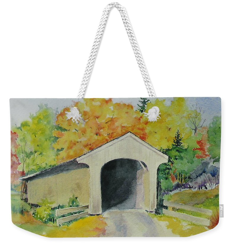 Landscape Weekender Tote Bag featuring the painting Vermont Covered Bridge by Mary Ellen Mueller Legault