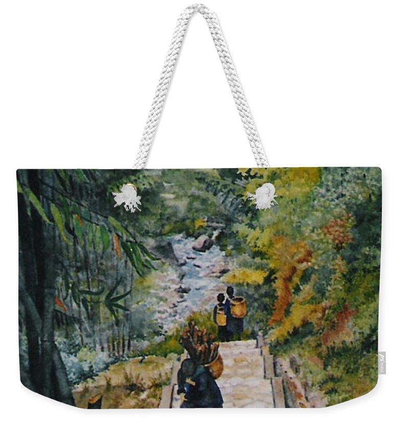 Vietnam Weekender Tote Bag featuring the painting Vietnam Scene by Mary Ellen Mueller Legault