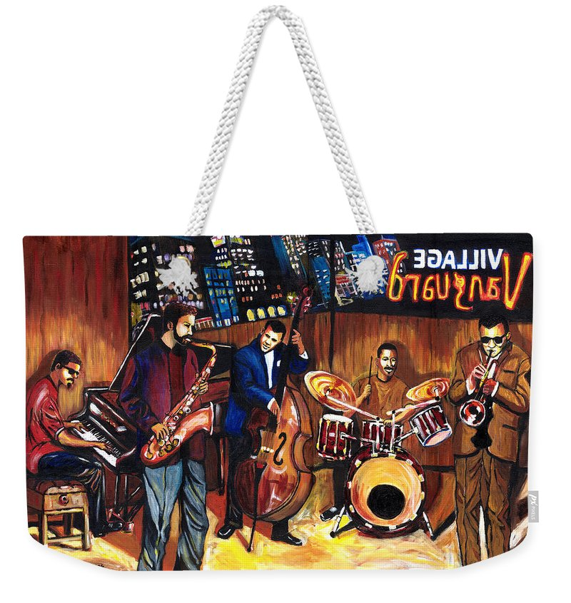 Everett Spruill Weekender Tote Bag featuring the painting Village Vanguard by Everett Spruill