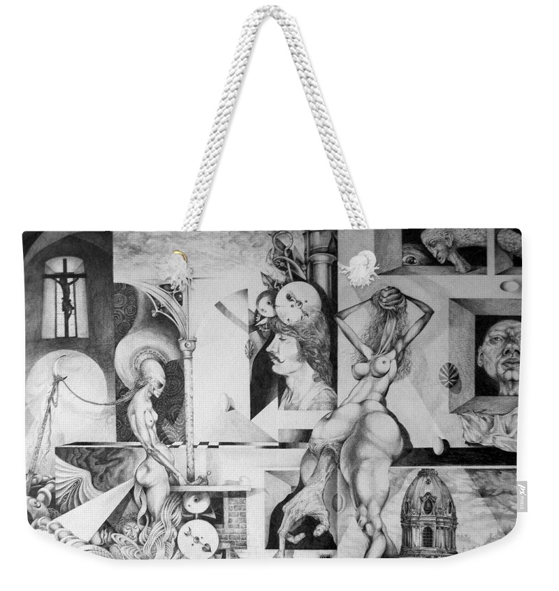 Surrealism Weekender Tote Bag featuring the drawing Vindobona Altarpiece I by Otto Rapp