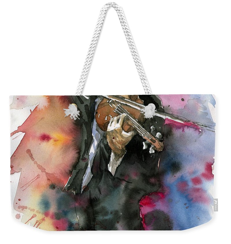 Music Weekender Tote Bag featuring the painting Violine player. by Yuriy Shevchuk