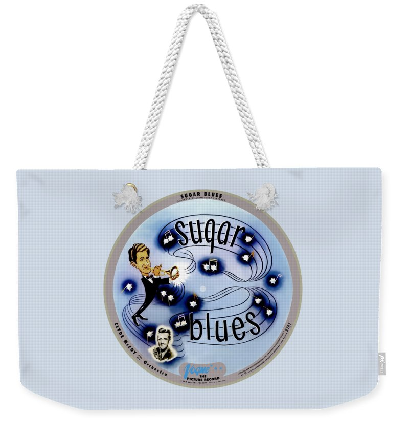Vogue Picture Record Weekender Tote Bag featuring the digital art Vogue Record Art - R 707 - P 5, Blue Logo - Square Version by John Robert Beck