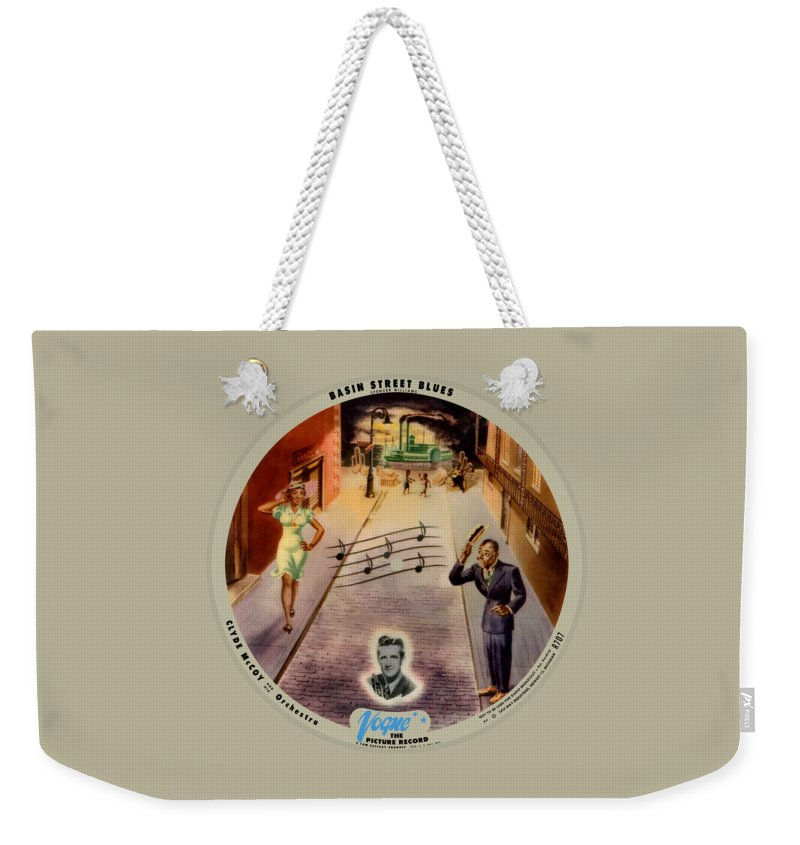 Vogue Picture Record Weekender Tote Bag featuring the digital art Vogue Record Art - R 707 - P 7, Blue Logo - Square Version by John Robert Beck