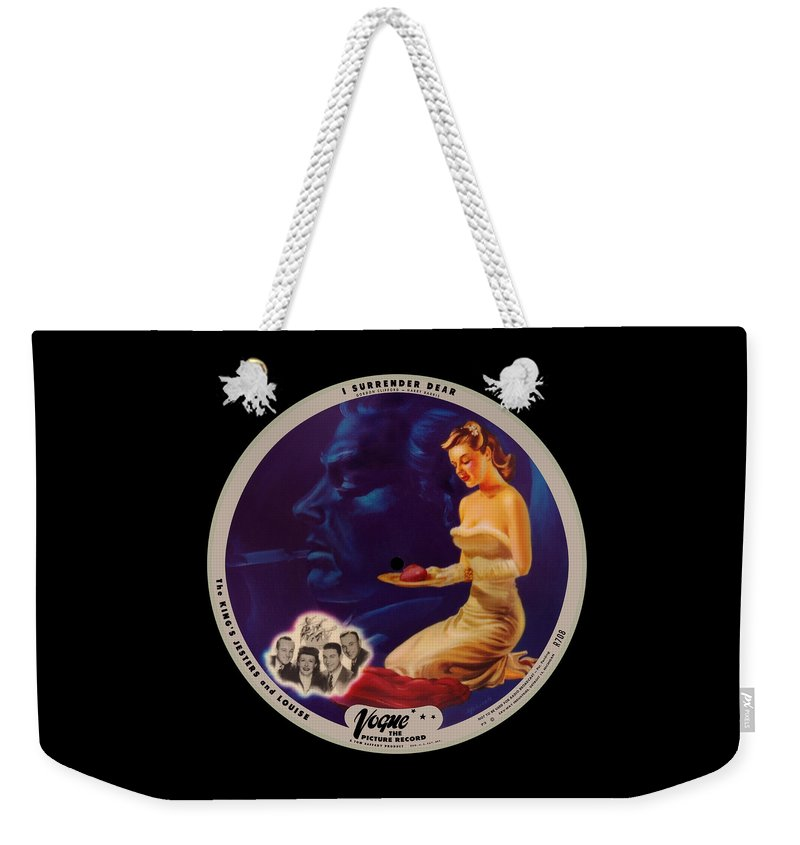 Vogue Picture Record Weekender Tote Bag featuring the digital art Vogue Record Art - R 708 - P 3 - Square Version by John Robert Beck