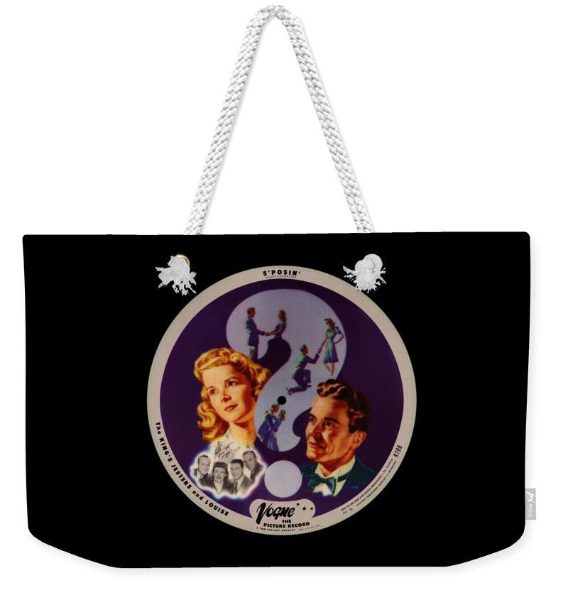Vogue Picture Record Weekender Tote Bag featuring the digital art Vogue Record Art - R 708 - P 4 - Square Version by John Robert Beck