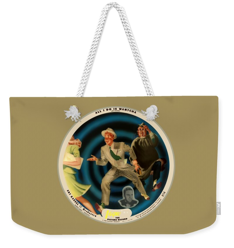 Vogue Picture Record Weekender Tote Bag featuring the digital art Vogue Record Art - R 714 - P 22, Yellow Logo - Square Version by John Robert Beck