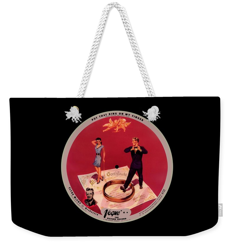 Vogue Picture Record Weekender Tote Bag featuring the digital art Vogue Record Art - R 722 - P 8 - Square Version by John Robert Beck