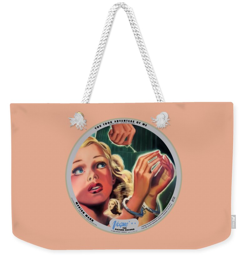 Vogue Picture Record Weekender Tote Bag featuring the digital art Vogue Record Art - R 731 - P 105 - Square Version by John Robert Beck