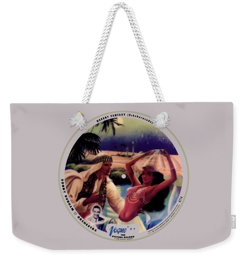 Vogue Picture Record Weekender Tote Bag featuring the digital art Vogue Record Art - R 774 - P 141 - Square Version by John Robert Beck