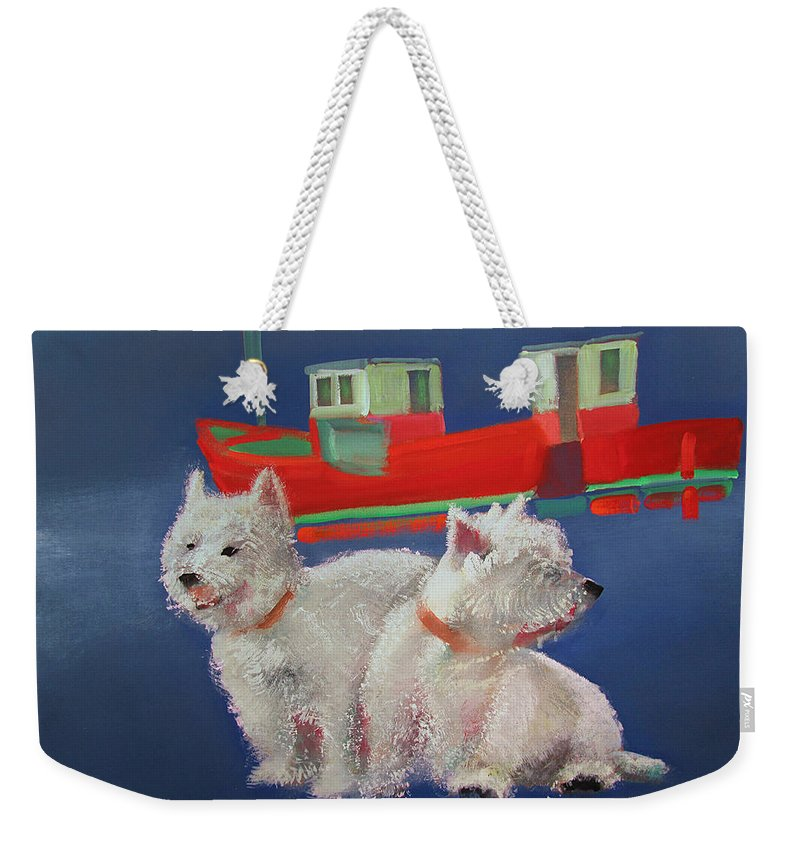 White Terriers Weekender Tote Bag featuring the painting Walberswick Red Trawlers by Charles Stuart