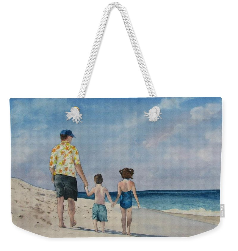 Landscape Weekender Tote Bag featuring the painting Walk on the Beach by Sharon Farber