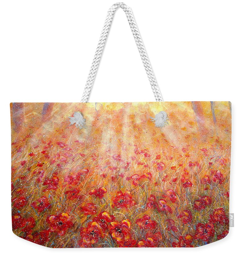 Landscape Weekender Tote Bag featuring the painting Warm Sun Rays by Natalie Holland