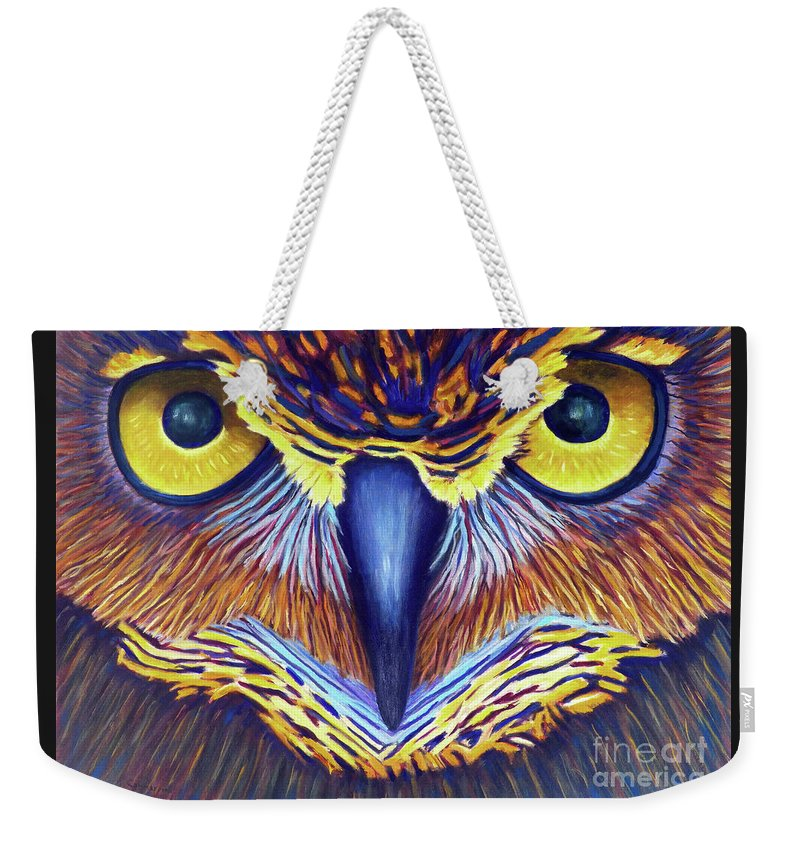 Owl Weekender Tote Bag featuring the painting Watching by Brian Commerford