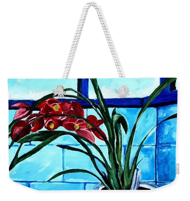 Still Life Weekender Tote Bag featuring the painting Welcome Flower by Andrew Johnson
