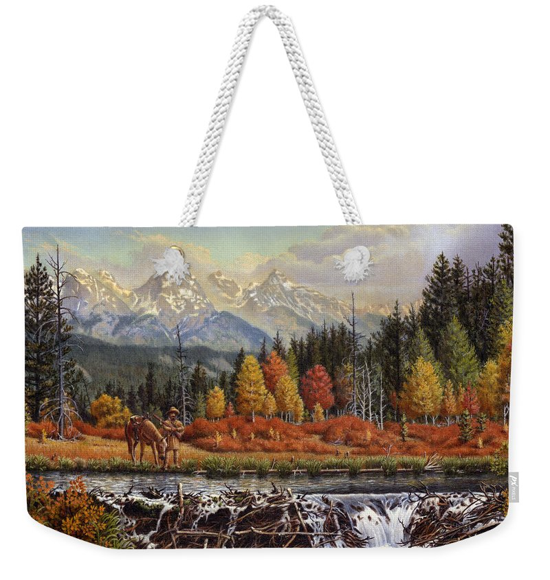 Western Mountain Landscape Weekender Tote Bag featuring the painting Western Mountain Landscape Autumn Mountain Man Trapper Beaver Dam Frontier Americana Oil Painting by Walt Curlee