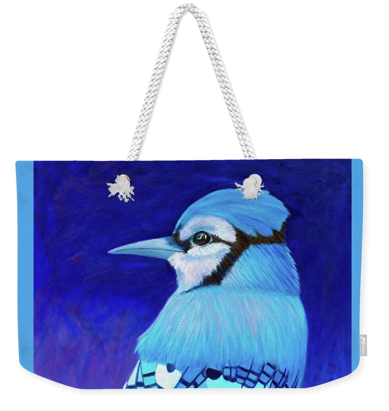 Blue Jay Weekender Tote Bag featuring the painting When the World Stopped by Brian Commerford