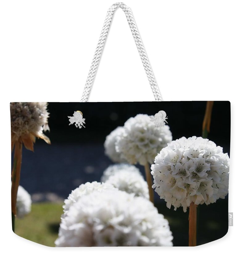 Aliums Weekender Tote Bag featuring the photograph White Aliums by Vicki Cridland