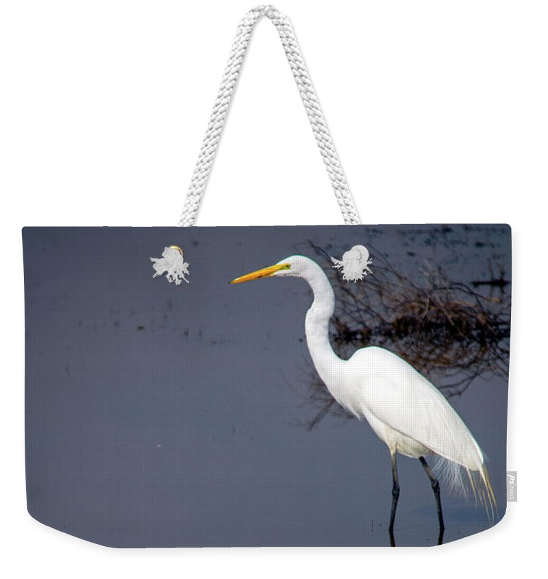 Bird Weekender Tote Bag featuring the photograph White Egret Reflection by Frank Wilson