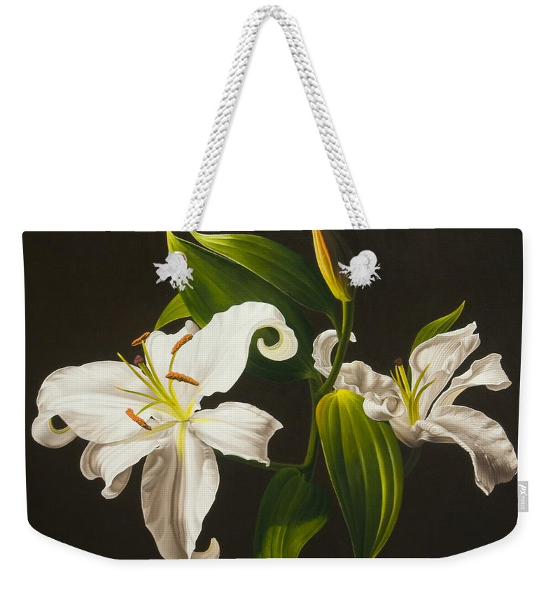 Floral Weekender Tote Bag featuring the painting White Lilies by Gary Hernandez