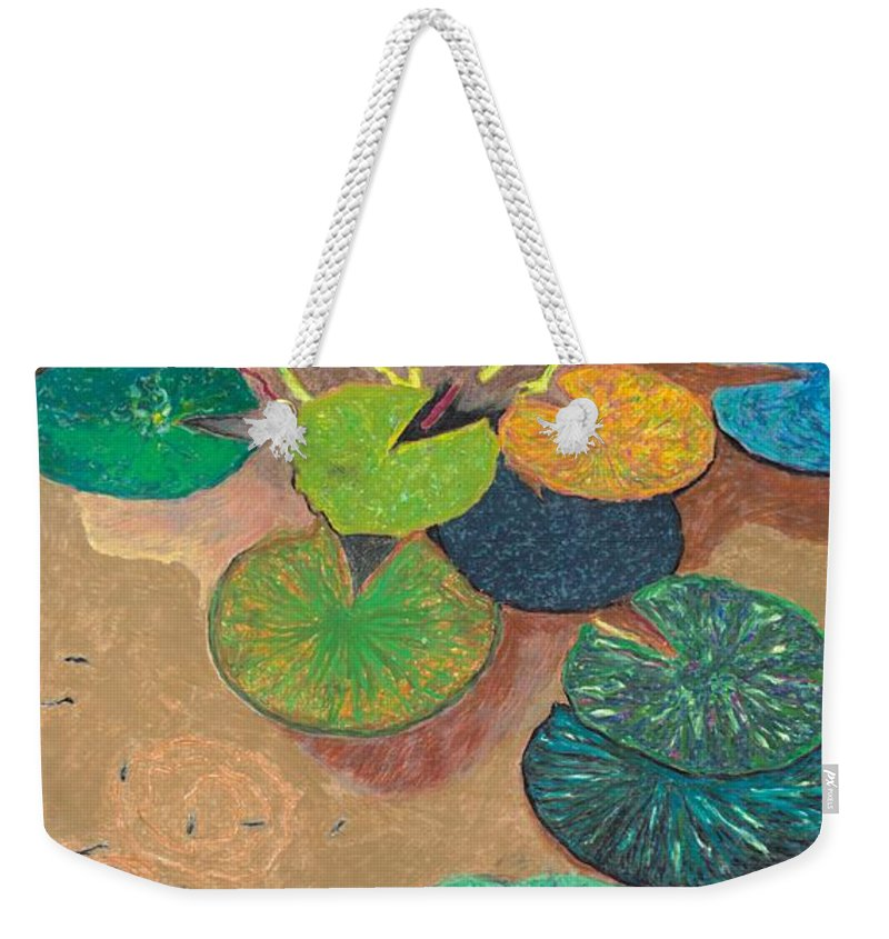 Landscape Weekender Tote Bag featuring the painting White Lily by Allan P Friedlander