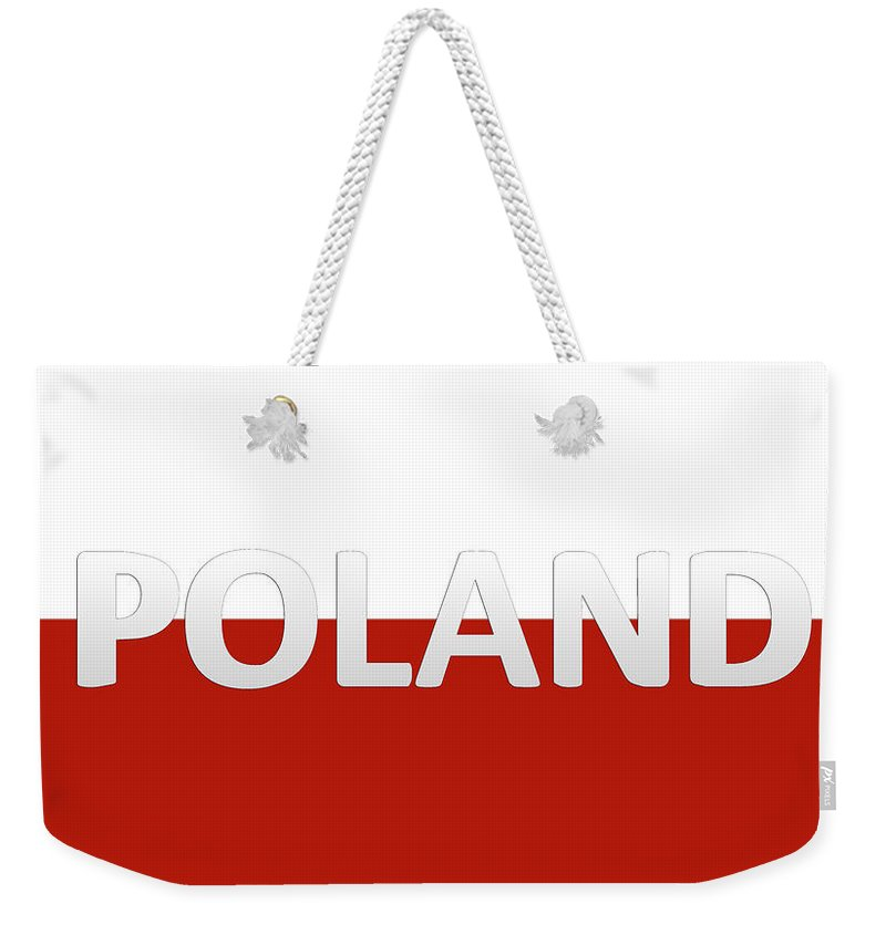 Poland Weekender Tote Bag featuring the digital art White red flag of Poland by Maria Rzeszotarska