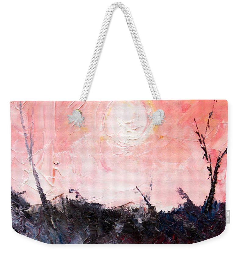 Duck Weekender Tote Bag featuring the painting White Sun by Sergey Bezhinets
