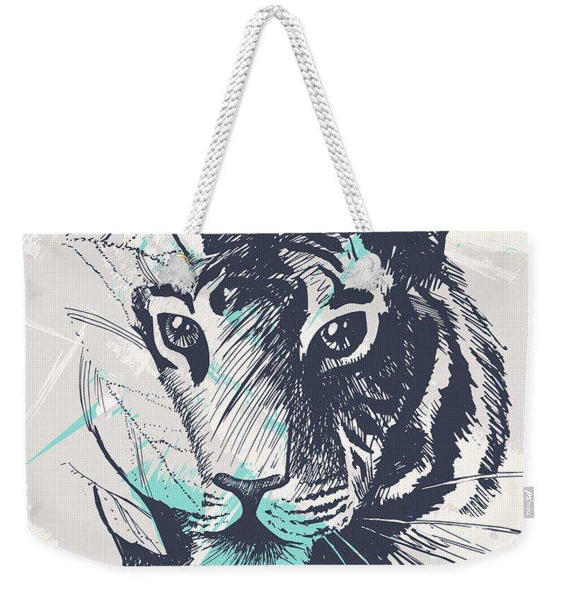 Tiger Weekender Tote Bag featuring the digital art Wild Tiger Jungle Big Cat Exotic Illustration by Sweet Birdie Studio