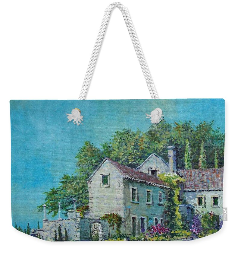 Original Painting Weekender Tote Bag featuring the painting Village Vista by Sinisa Saratlic