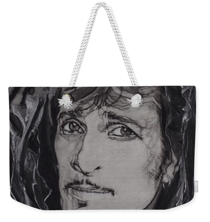 Charcoal Weekender Tote Bag featuring the drawing Willy Deville - Coup De Grace by Sean Connolly