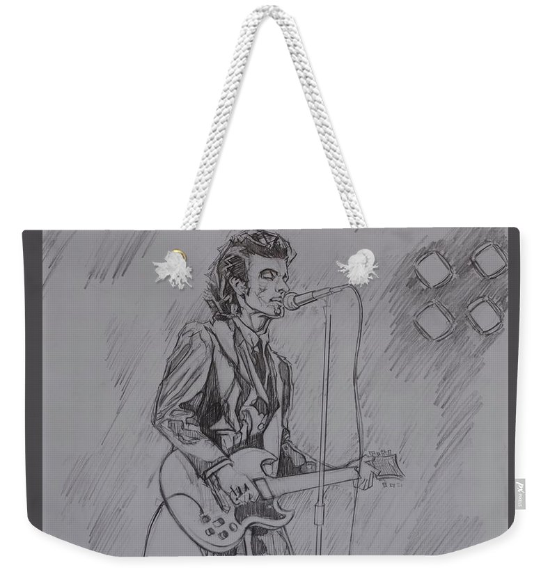 Pencil Weekender Tote Bag featuring the drawing Willy DeVille - Steady Drivin' Man by Sean Connolly