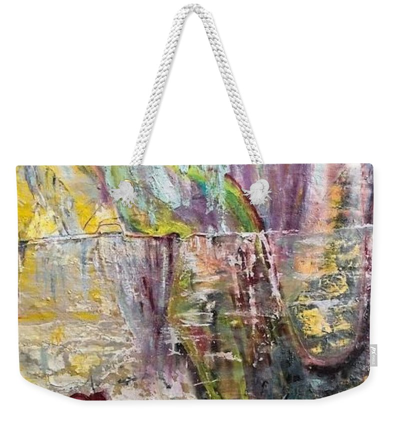 Flower Weekender Tote Bag featuring the painting Sunset on Wilmington  by Peggy Blood
