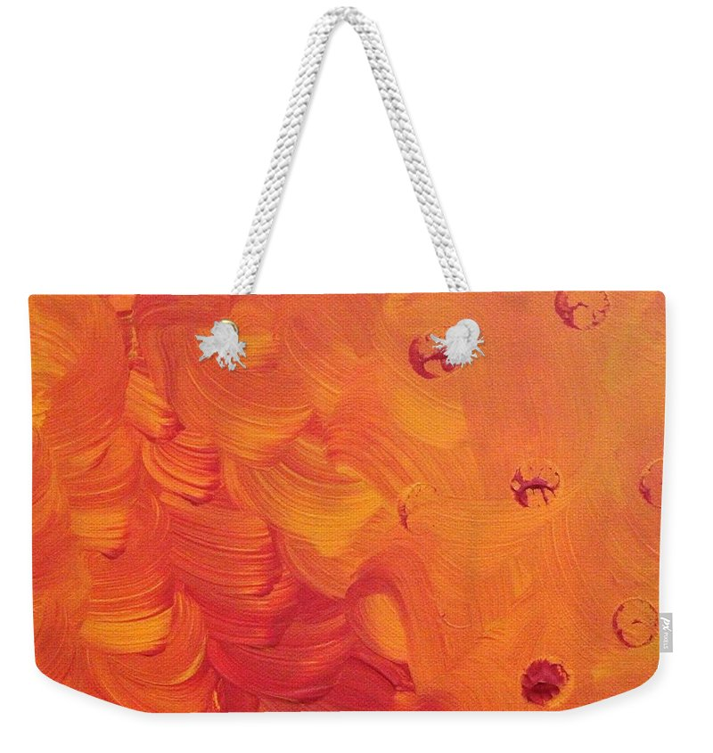 Orange Weekender Tote Bag featuring the painting Wind in Her Hair by Pam Roth O'Mara