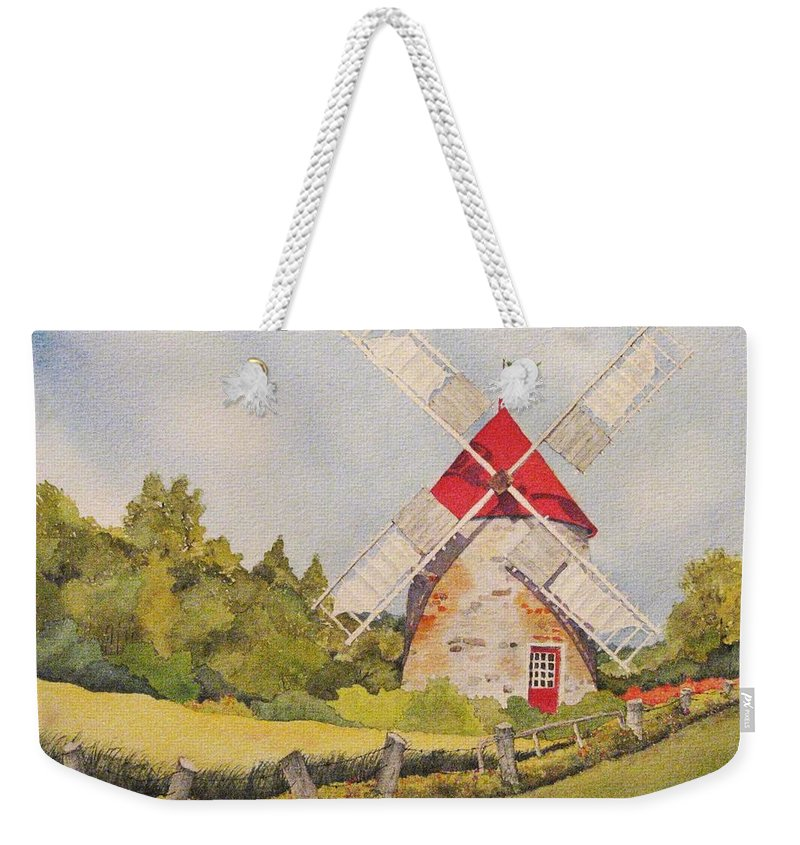 Windmills Weekender Tote Bag featuring the painting Windmill on Ile aux Coudres Quebec by Mary Ellen Mueller Legault