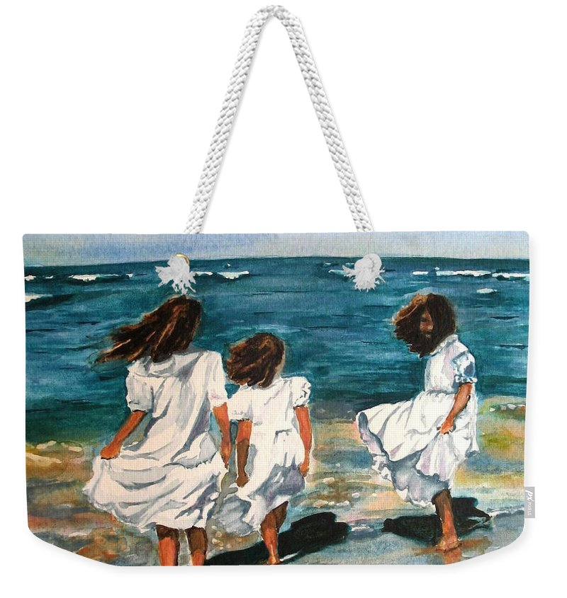 Girls Weekender Tote Bag featuring the painting Windy Day by Karen Ilari