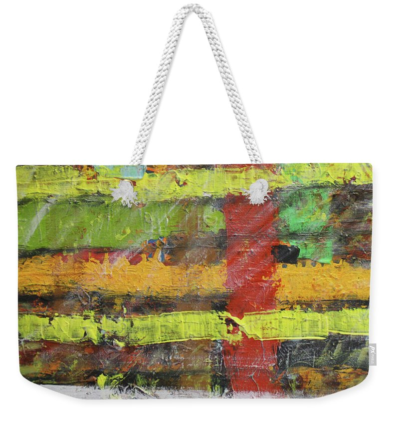 Colorado Weekender Tote Bag featuring the painting Winter at the Sod Home by Pam Roth O'Mara