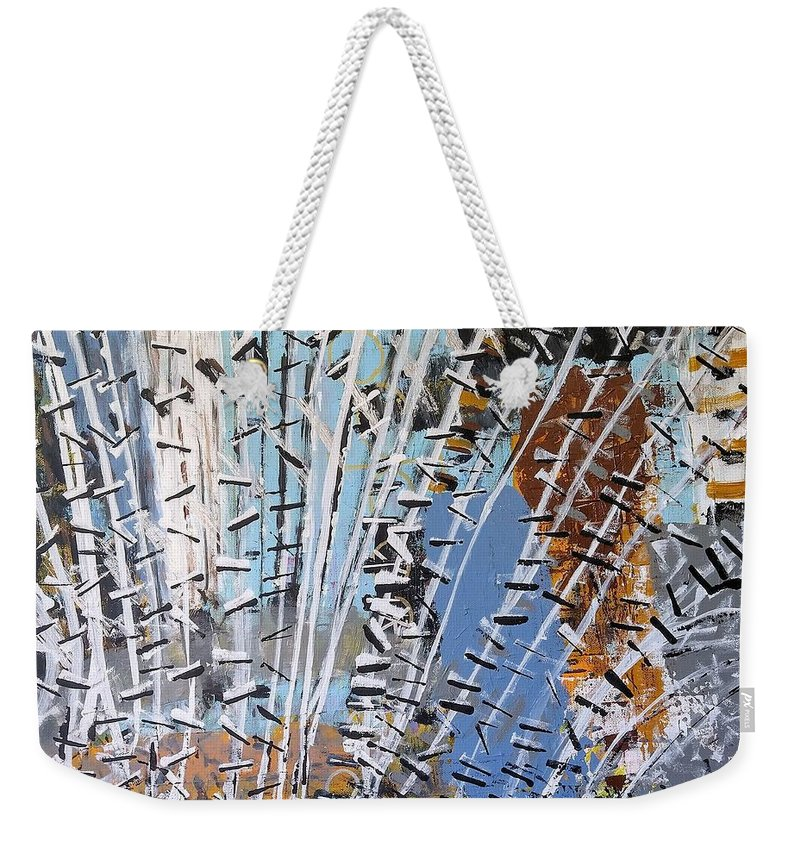 White Weekender Tote Bag featuring the painting Winter Forest by Pam Roth O'Mara