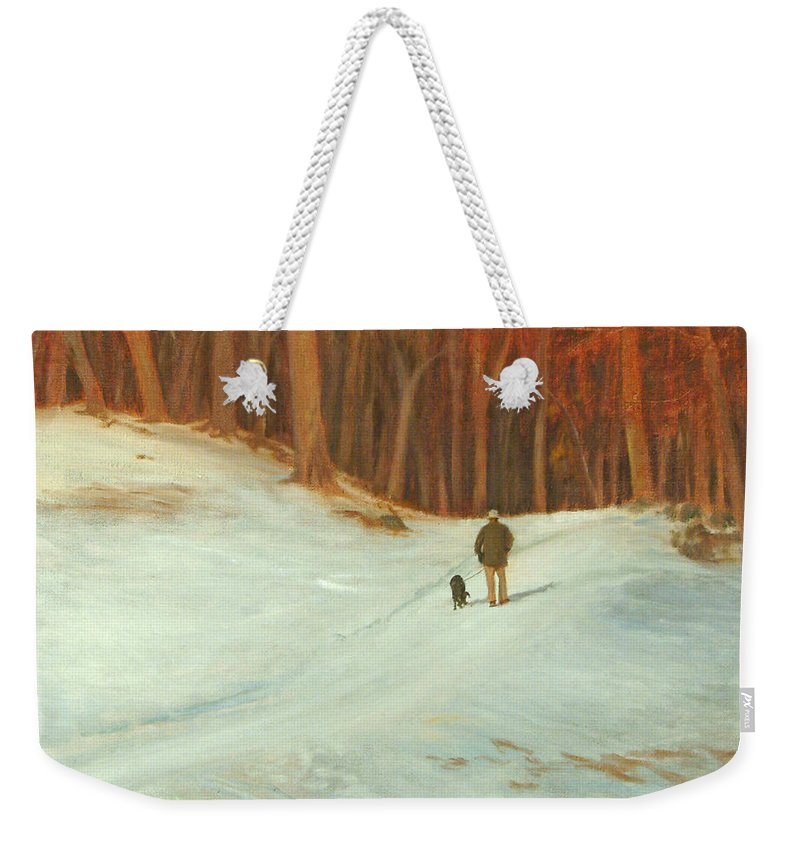 Landscape Weekender Tote Bag featuring the painting Winter Walk with Dog by Phyllis Tarlow