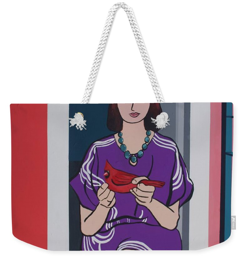Bird Weekender Tote Bag featuring the painting Woman, Bird, and Berries - A Tribute to Henri Matisse by Rollin Kocsis