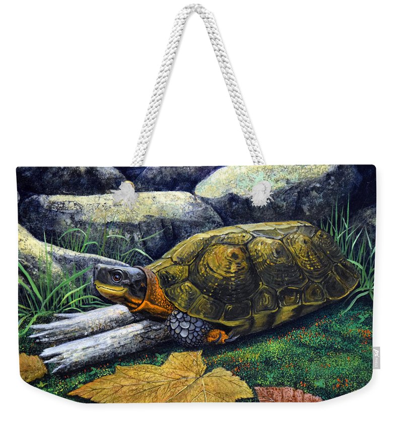 Turtles Weekender Tote Bag featuring the painting Wood Turtle by Frank Wilson