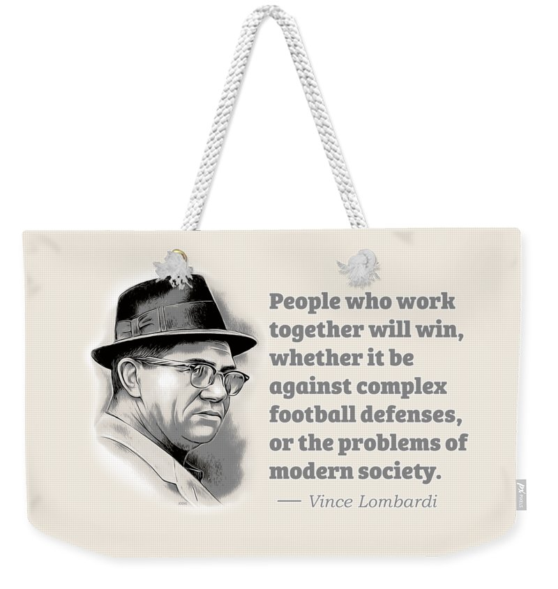 Vince Lombardi Weekender Tote Bag featuring the digital art Working Together by Greg Joens