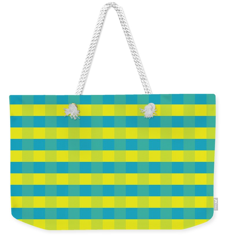 Yellowandblue Weekender Tote Bag featuring the digital art Yellow-blue squares by Maria Rzeszotarska